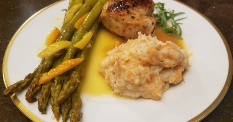 Chicken and Asparagus in Orange Lemon Butter with Potato Carrot Puree