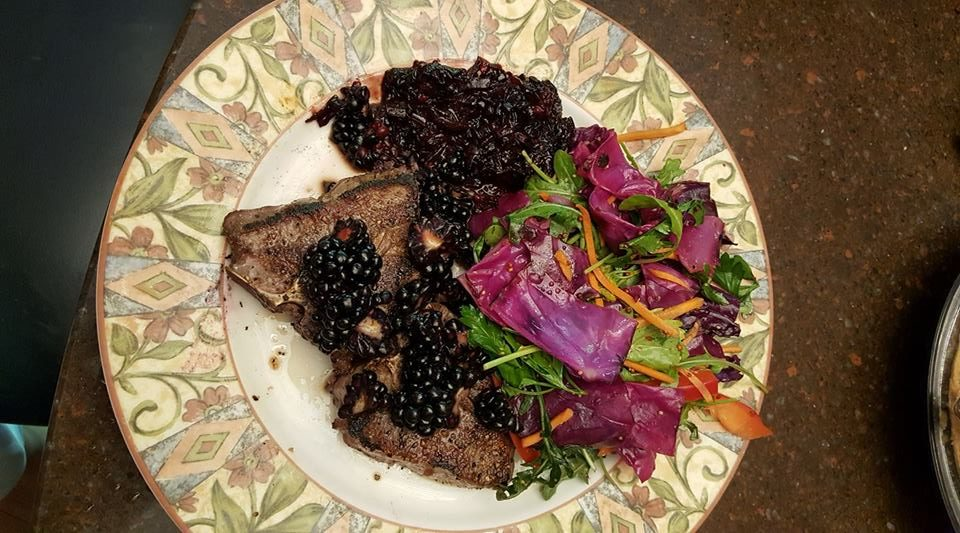 Easy Grilled Lamb Chops with Cabbage Salad and Blackberry Chutney